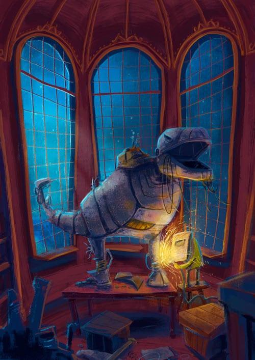 stephanie dehennin illustration robot dinosaur